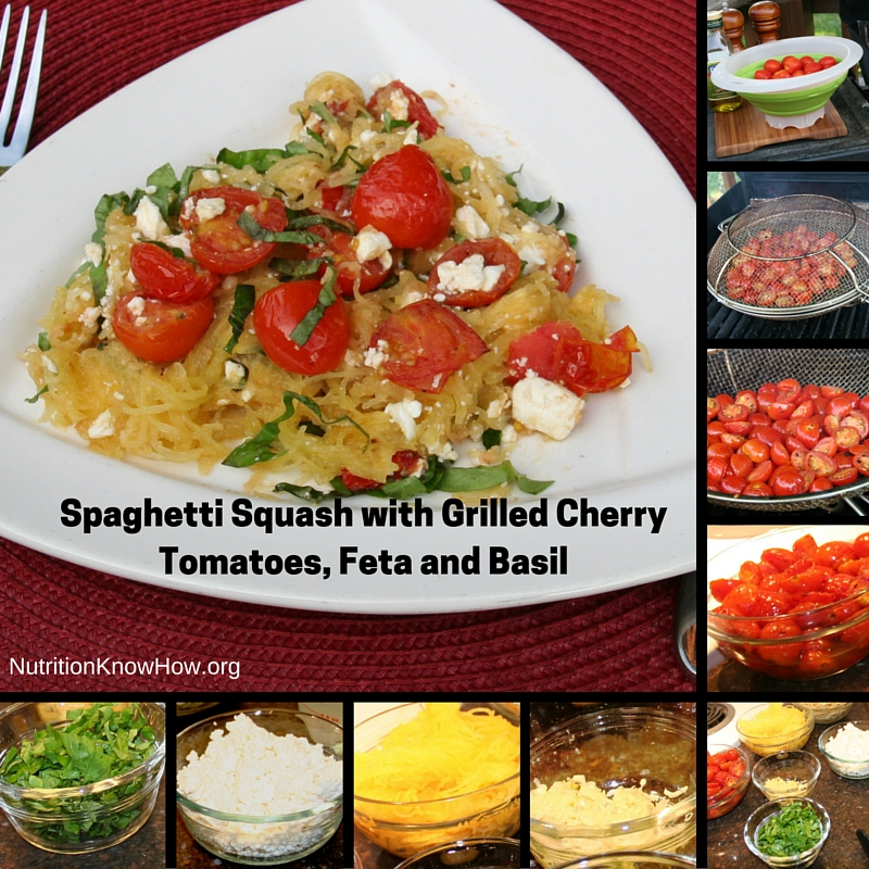 Spaghetti squash with grilled cherry tomatoes, feta and basil